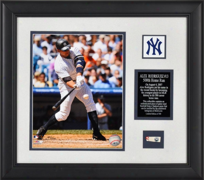 Alex Rodriguez New York Yankees - 500th Hr - Framed 8x10 Photograph Through  Game Used Baseball Piece And Descriptive Plate