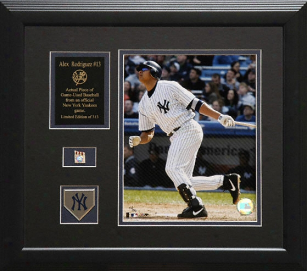 Alex Rodriguez New York Yankees Framed 8x10 Photograph With Game Uesd 2005 Baseball