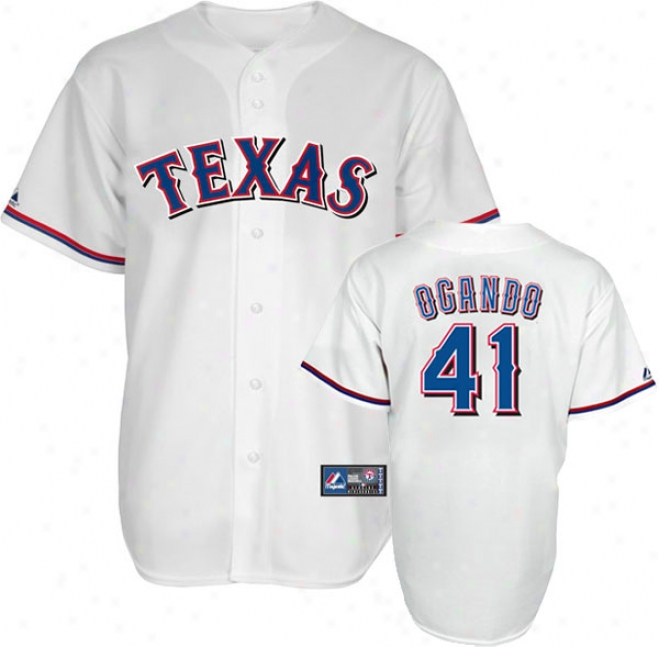 Alexi Ogando Jersey: Adult Home White Replica #41 Texas Rangeds Jersey