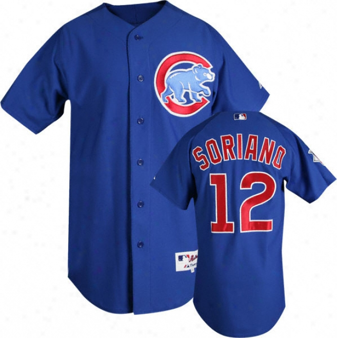 Alfonso Soriano Blue Majestic Authentic Alternate On-field Chicago Cubs Jersey