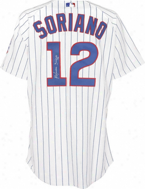 Alfonso Soriano Chicago Cubs Autographed Trustworthy Pinstripe Jersey