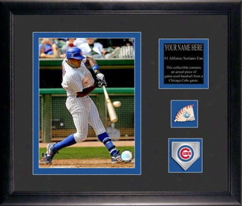 Alfonso Soriano Chicago Cubs Framed 6x8 Photograph With Personalized Plate, Game Used Baseball Piece And Team Medallion