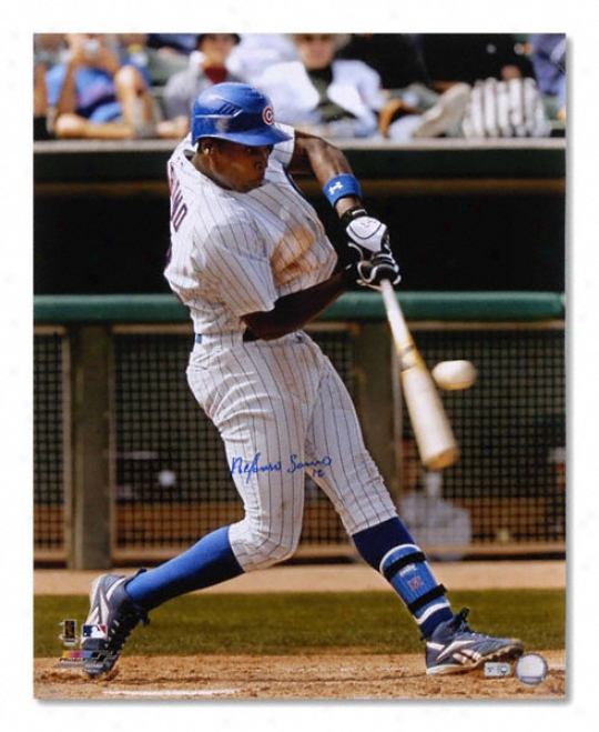 Alfonso Soriano Chicago Cubs - Hitting - Autgraphed 16x20 Photograph