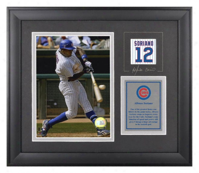 Alfonso Soriano Framed 6x8 Photograph  Details: Chicago Cubs, With Facsimile Signature