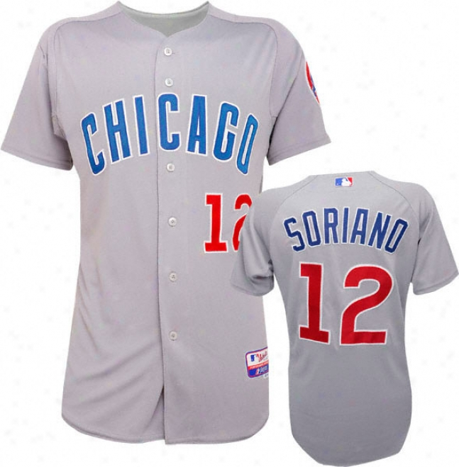 Alfonso Soriano Majestic Road Authentic Onffield Cool Base Chicago Cubs Jersey