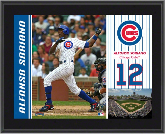 Alfonso Soriano Plaque  Details: Chicago Cubs, Sublimated, 10x13, Mlb Plaque
