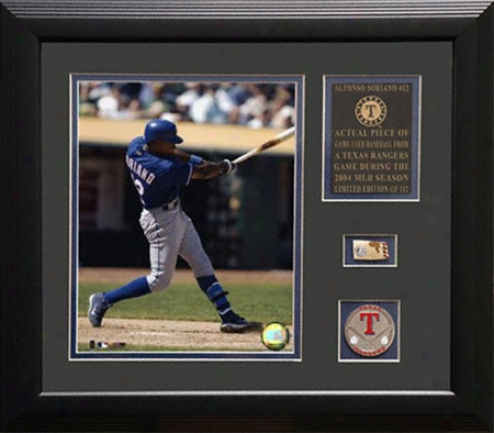 Alfonso Soriano Texas Rangers Framed 8x10 Photograph With Game Used 2004 Baseball Piece & Medallion