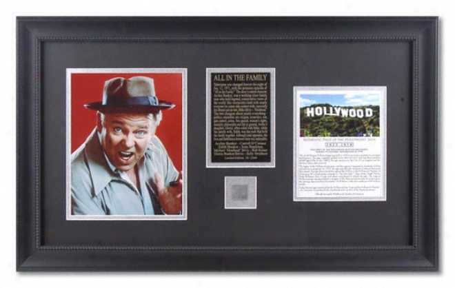 All In The Family - Archie - Framed 8x10 Photograph With Piece Of Hollywood Sign