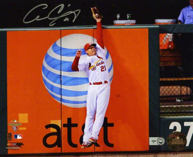 Allen Craig Autographed 8x10 Photograph  Details: St. Louis Cardinals, 2011 World Series, Robbing Homerun