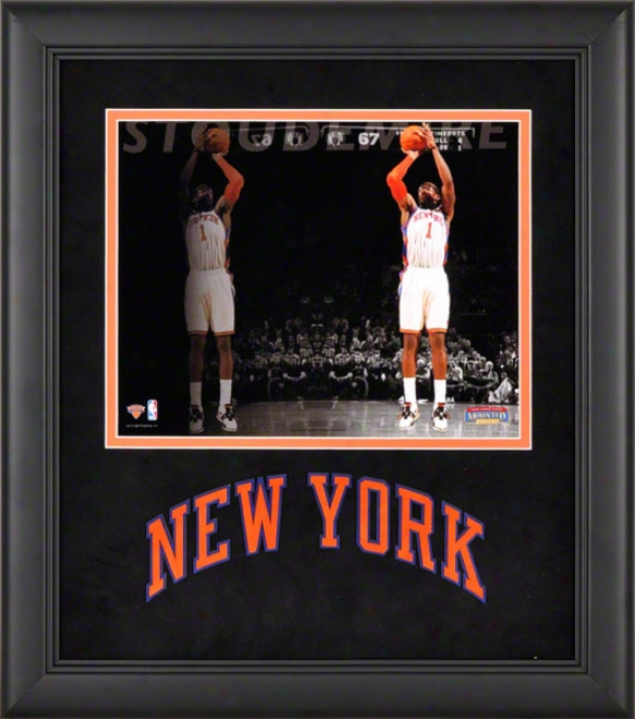 Amar'e Stoudemire Framed Photograph  Details: 8x10, Reflections, New York Knicks Team Logo