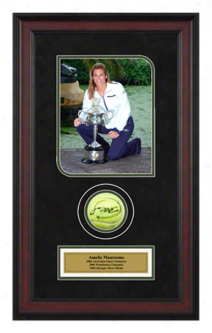 Amelie Mauresmo 2006 Austrralian Open Framed Autographed Tennls Ball Upon Photo