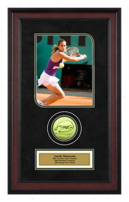 Amelie Mauresmo French Open Framed Autographed Tennis Ball With Photo