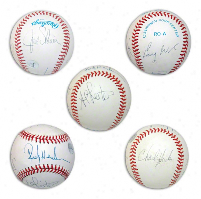 American League Baseball Autographed By Rickey Henderson, Gary Ward, Charlie Hudson, Al Leiter & Joel Skinner