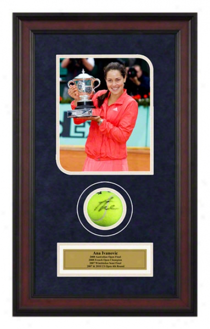 Ana Ivanovic 2008 French Open Framed Autographed Tennis Ball With Photo