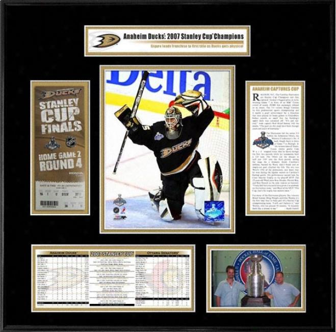 Anaheim Ducks - Game 1 Jean-sebastien Gigueer - 2007 Stanley Cup Champions Ticket Frame