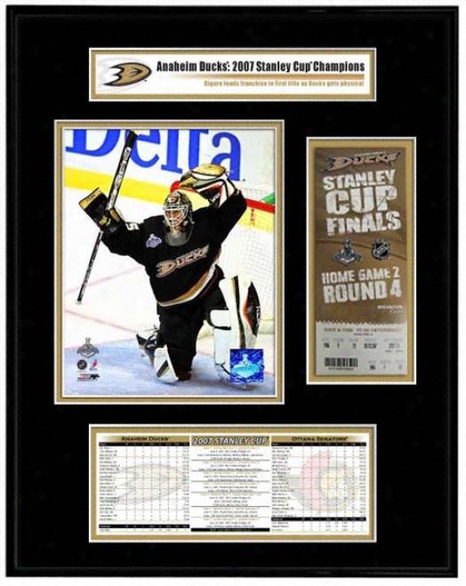 Anaheim Ducks - Game 1 Jean-sebastien Giguere - 2007 Stanley Cup Champions Ticket Frame Jr.