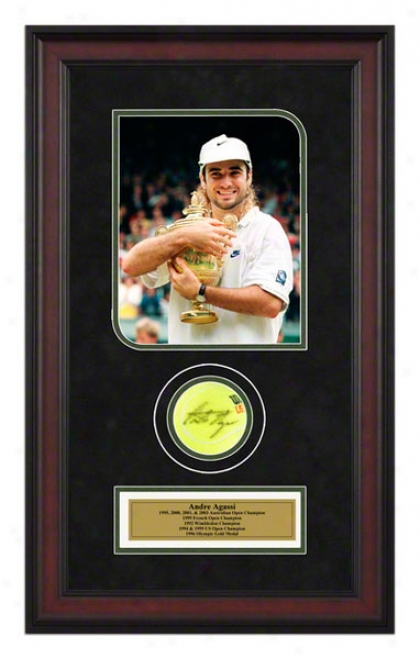 Andre Agassi 2005 Wlmbledon Match Framed Autographed Tennis Ball With Photo