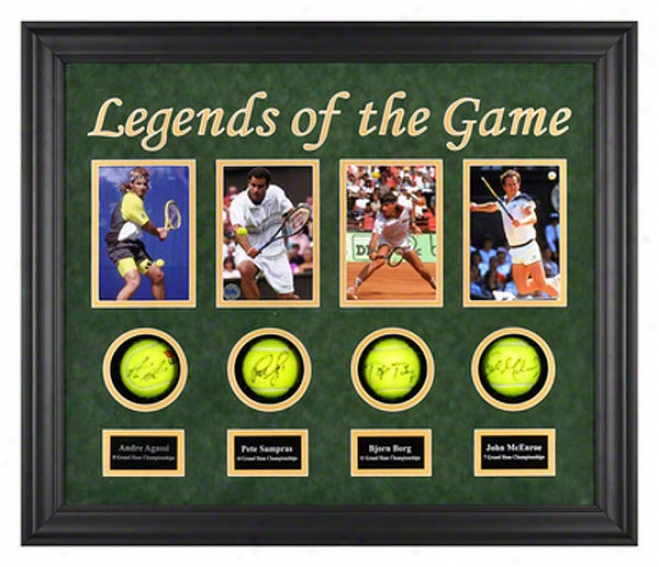 Andre Agassi, Pete Sampras, Bjorn Borg And John Mcenroe Legebds Of The Game Framed Autographed Tennis Balls With Photos