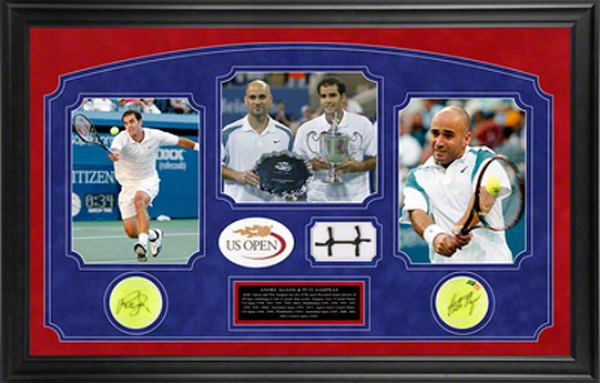Andre Agassi & Pete Sampras Us Mild Framed Autographed Tennis Ball Attending Game Used Net And Photo