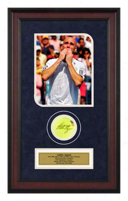Andre Agassi Us Open Framed Autographed Tennis Ball With Photo