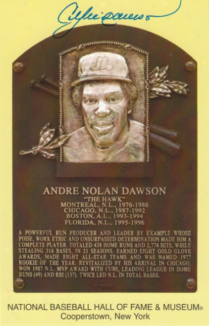 Andre Dawson Autographed Hall Of Fame 3x5 Card