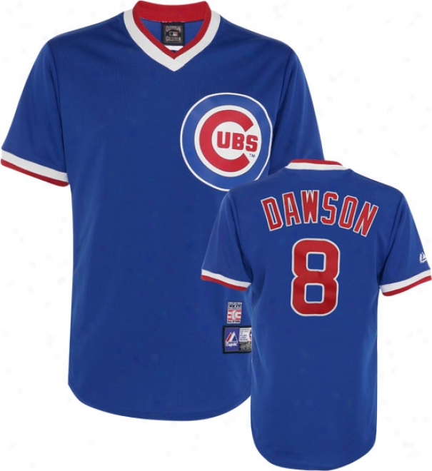 Andre Dawso nChicago Cubs Royal Azure Cooperstown Autograph copy Jersey