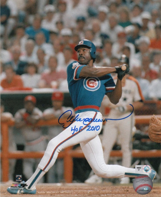 Andre Dawson Chicago Cubs - Swinging - Autographed 8x10 Photograph With Hof 2010 Inscription