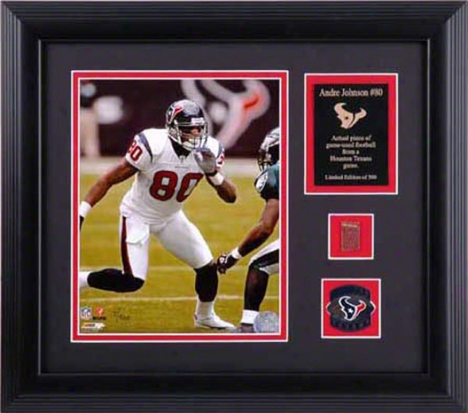 Andre Johnson Houston Texans Framed 8x10 Photograph With Football And Medal