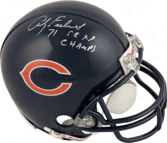 Andy Frederick Chicago Bears Auographed Mini Helmet With Sb Xx Champs Inscription