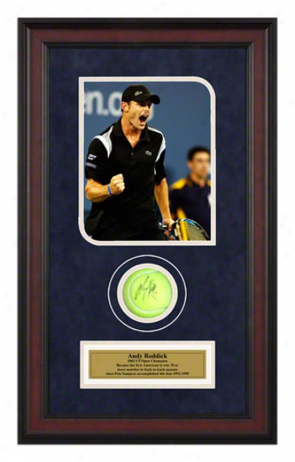 Andy Roddick 2007 Us Open Framed Autographed Tennis Ball With Photo
