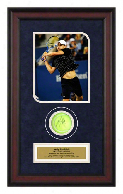 Andy Roddick 2009 Us Open Framed Autographed Tennis Ball With Photo
