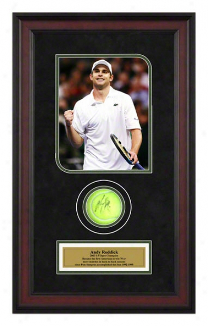 Andy Roddick Davis Draught Final Framed Autographed Tennis Ball With Photo