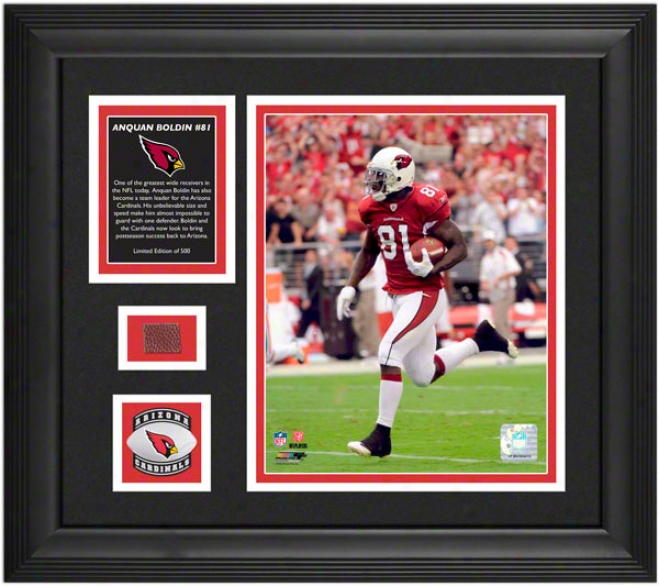 Anquan Boldin Arizona Cardinals Framed 8x10 Photograph With Game Used Football Piece And Medallion
