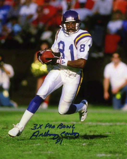 Anthony Carter Autographed Photograph  Details: 8x10, Minnesota Vikings, 3x Pro Goblet Inscription