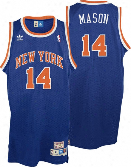 Anthony Mason Jersey: Adidas Blue Throwback Swingman #14 New York Knicks Jersey