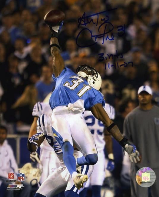 Antonio Cromartie Autographed Photograph  Details: San Diego Chargers, 8x10, 2 Inscriptions