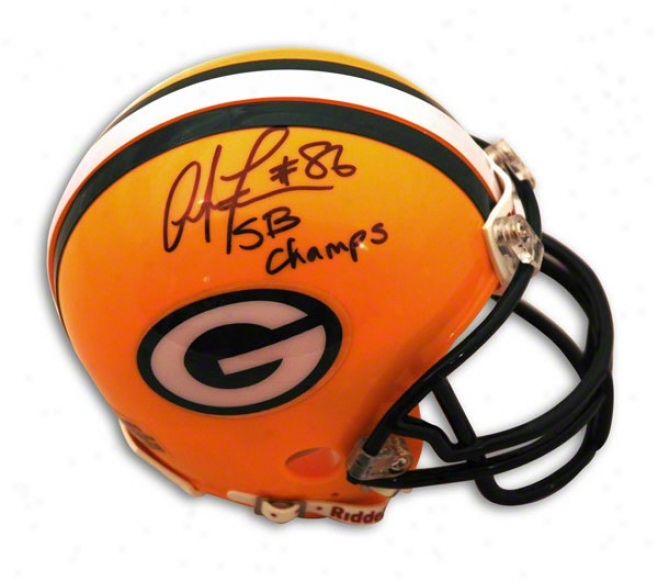 Antonio Freeman Lawn Bay Packers Autographed Mini Helmet Inscribed Sb Champs