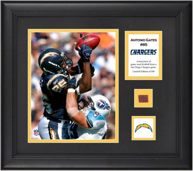 Antonio Gates Framed 8x10 Photograph  Particulars: San Diego Chargers, With Game Used Football Piece And Descriptive Plate