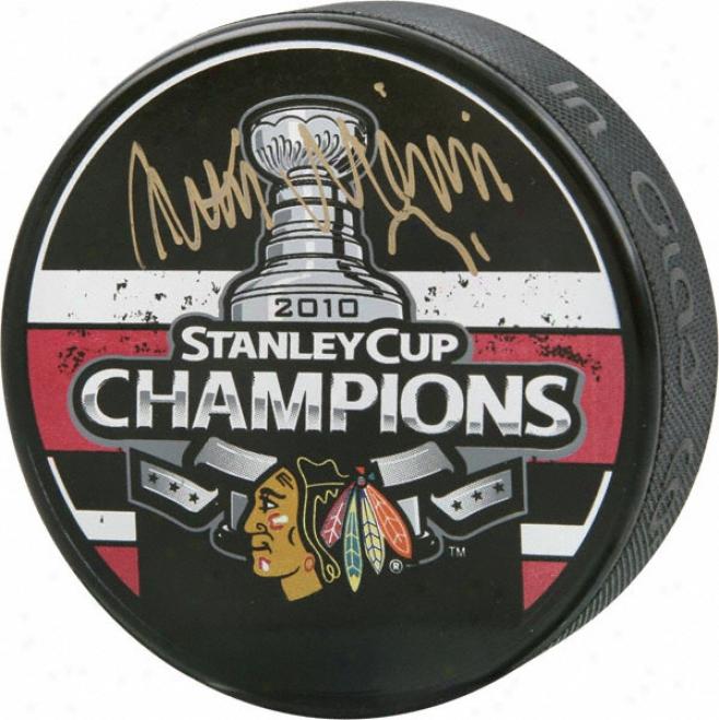 Antti Niemi Chicago Blackhzwks Autographed 2010 Stanley Cup Champions Puck