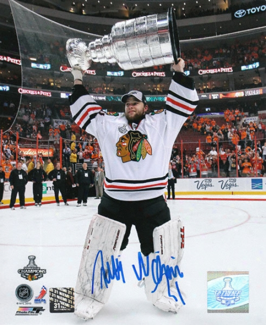Antti Niemi Chicago Blackhawks - Holding The Stanley Cup - Autographed 8x10 Photograph