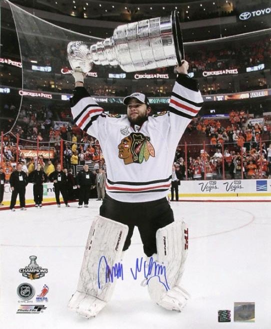 Antti Niemi Chicago Blackhawks - Holding The Stanley Cup - Autographed 16x20 Photograph