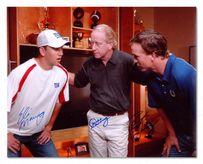 Archie, Eli And Peyton Manning Autographed 16x20 Photograph