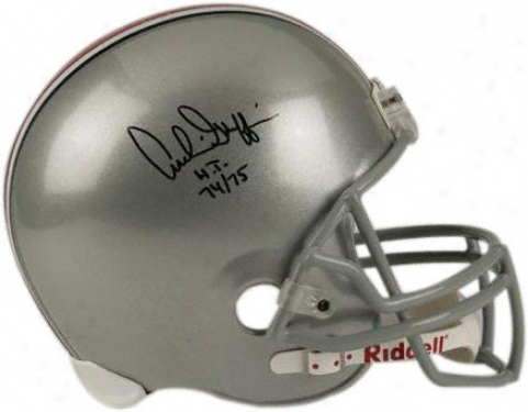 Archie Griffin Autographed Helmet  Details: Ohio State Buckeyes, With Inscription &quoth.t. 74-75&quot, Riddell Replica Helmet