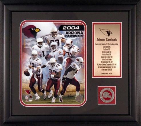 Arizona Cardinals Framed 2004 Nfl Team Photograph With Team Coin