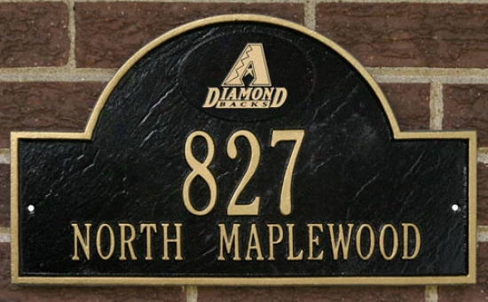 Arizona Diamondbacks Black And Gold Personalized Address Wall Plaquw