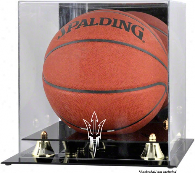 Arizona State Sun Devils Golden Classic Logo Basketball Display Declension-form With Mirror Back