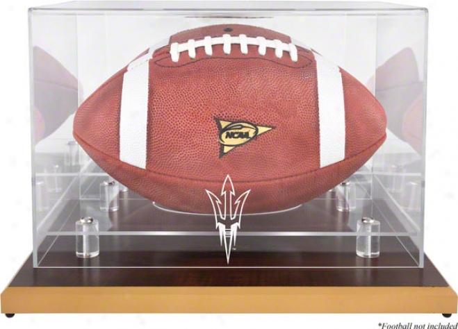 Arizona State Sun Devils Wood Base Logo Football Display Case With Mirror Bwck