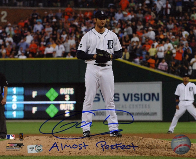 Armando Galarraga Detroit Tigers - Adtion - Autographed 8x10 Photograph With Almost Perfect Inscription