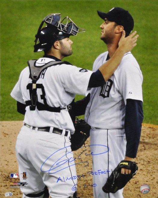 Armando Galarraga Detroit Tigers - Celebration - Autographed 16x20 Photograph With Almost Perfect 6-2-10 Inscription