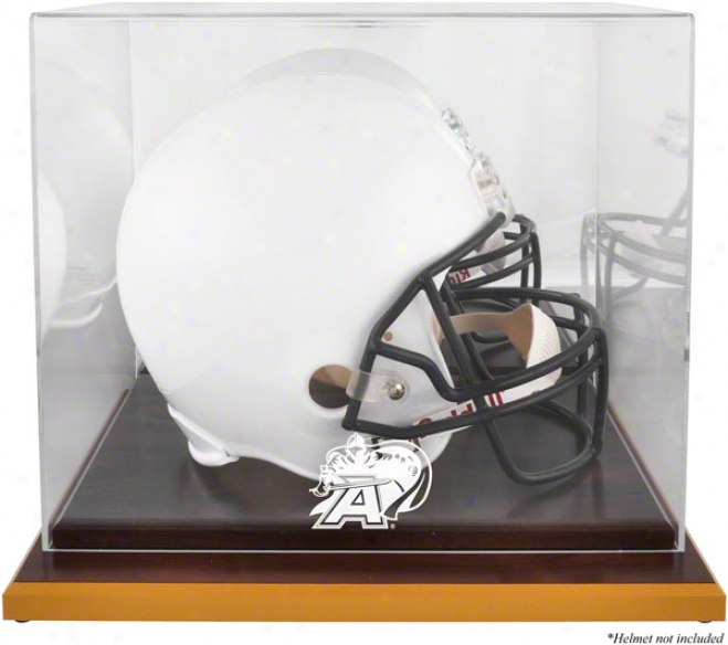 Army Black Knights Logo Helmet Display Case  Details: Wood Base, Mirrored Back